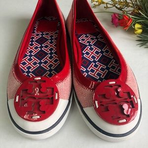 Tory Burch Cherry Red Channing Canvas Flats